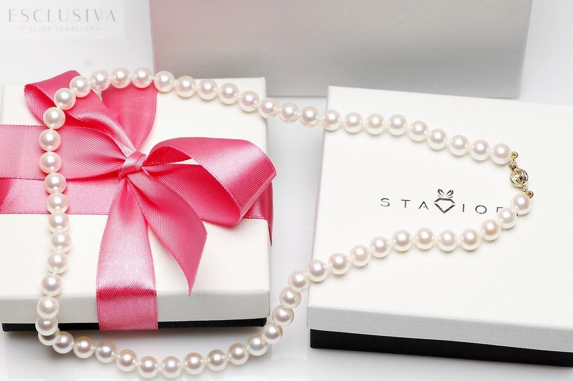 Naszyjnik z białych pereł morskich AKOYA klasy AAA