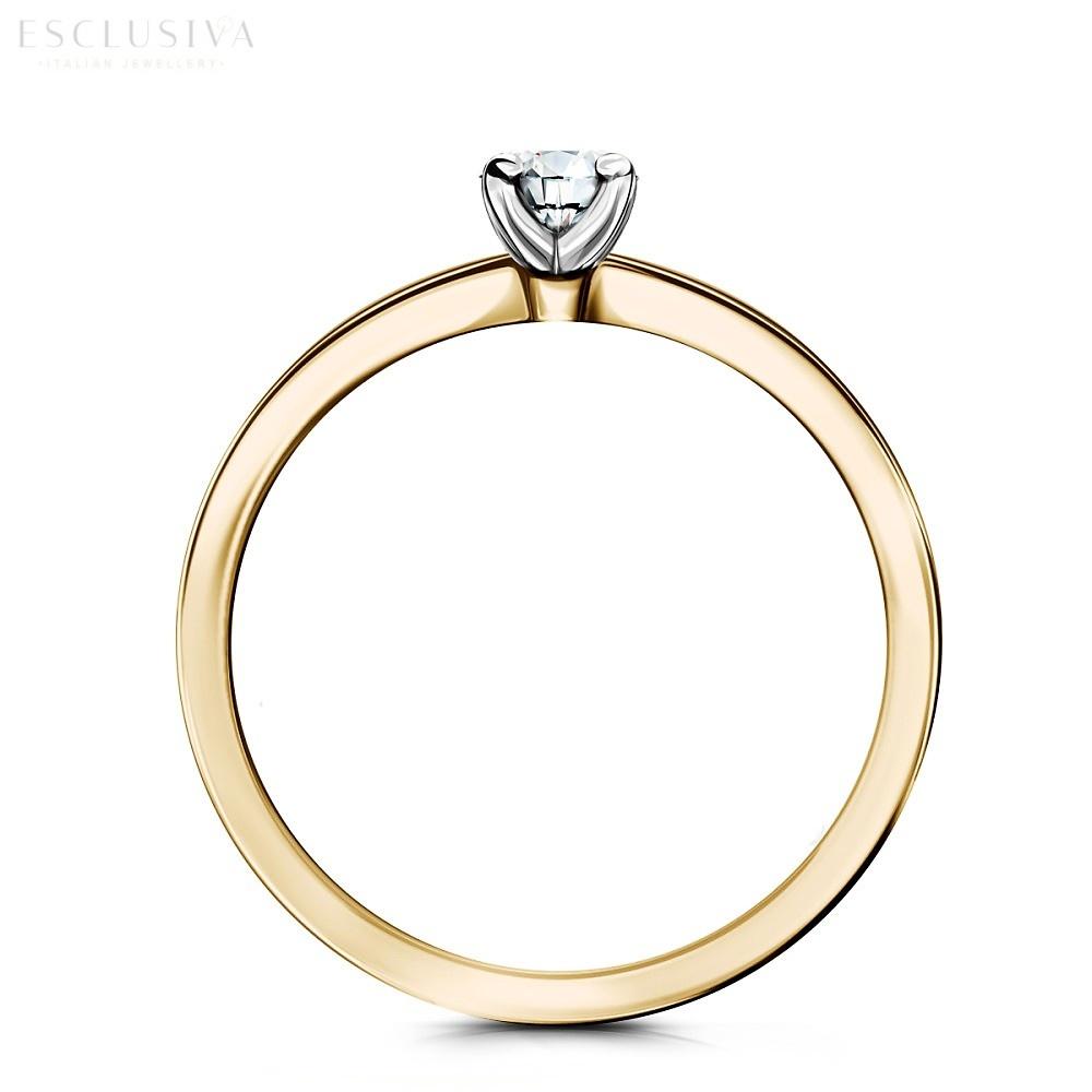 Klasyczny pierścionek zaręczynowy z żółtego złota i brylantem