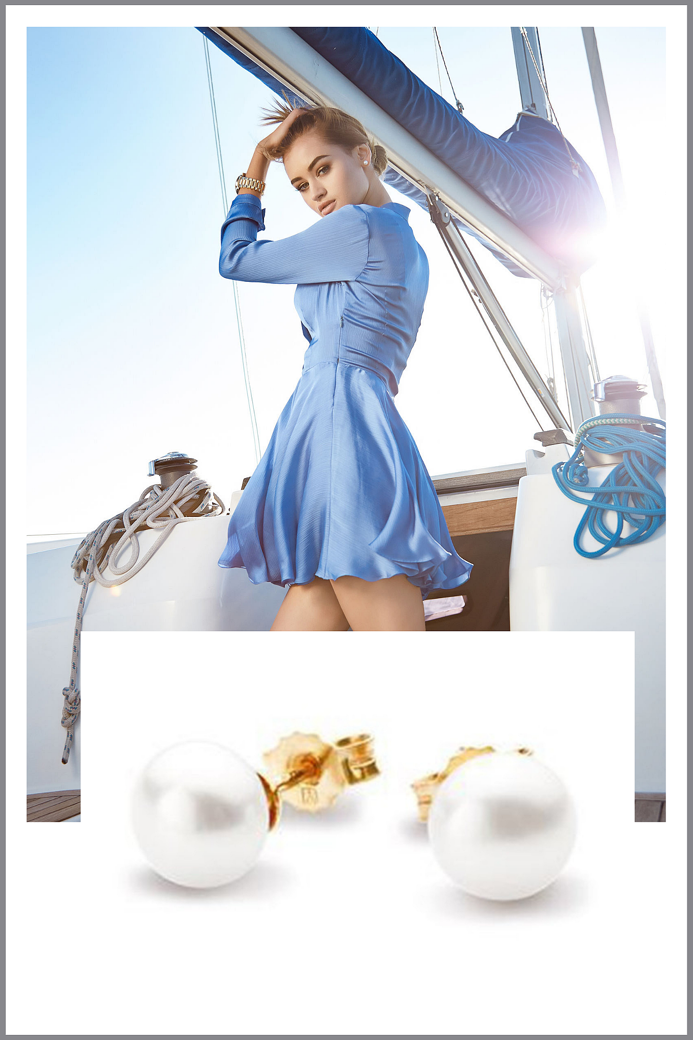 kolczyki z pojedynczymi białymi perłami naturalnymi
