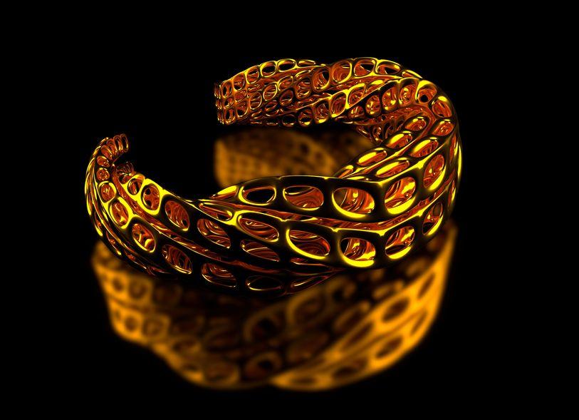 Złota bransoletka wydrukowana w 3D